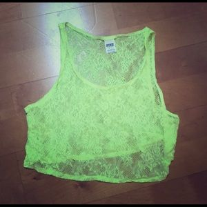 VS Neon Yellow/ neon green lace crop top sz small